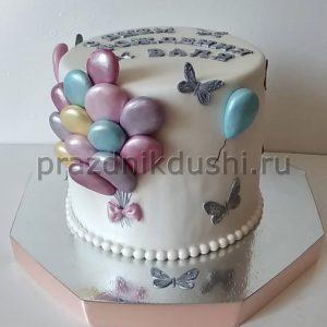 Торт для детей — На день рождения с надписью и шариками