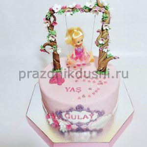 Торт на день рождения ребёнка — Девочка на качелях