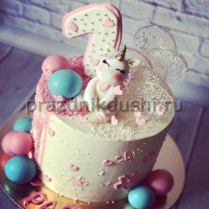 Торт для детского праздника — единорог на счастье