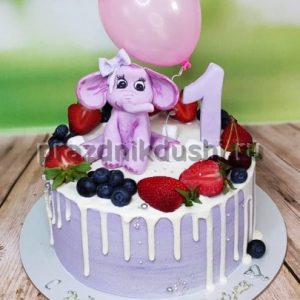 Торт для подростка — Розовый слонёнок
