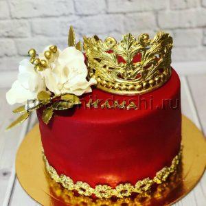 Торт — Корона и цветы