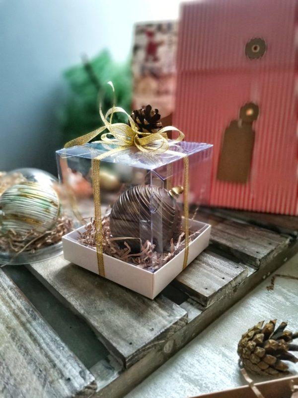 Елочная игрушка из шоколада с начинкой в тубусе